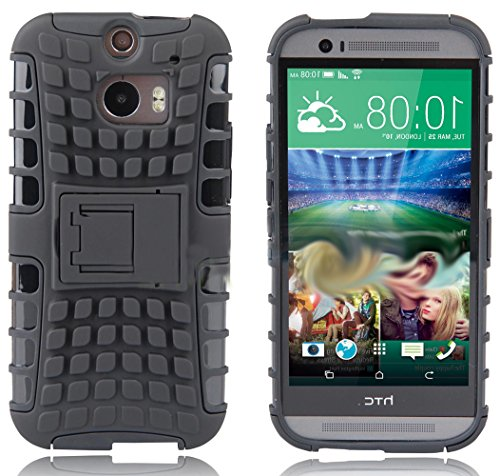 Mylife Olive Black {Rugged Design} Two Piece Neo Hybrid (Shockproof Kickstand) Case For The All-New Htc One M8 Android Smartphone - Aka, 2Nd Gen Htc One (External Hard Fit Armor With Built In Kick Stand + Internal Soft Silicone Rubberized Flex Gel Full Bo