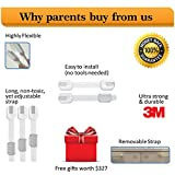 1-Rated-Adjustable-Child-Safety-Straps-Locks-327-Bonus-Gift-Baby-Proof-Drawer-Appliances-Furniture-Cabinets-Door-Easy-to-Install-Remove-3M-Adhesive-Multi-Use-Toddler-Proof-Kit-Latch