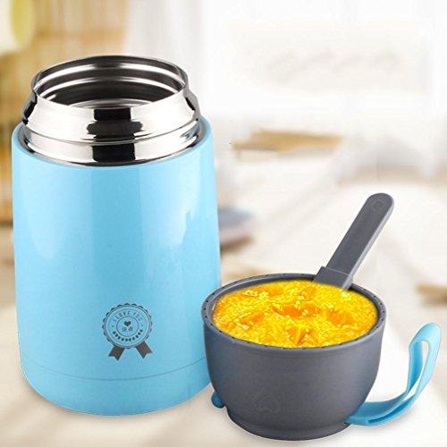 CKJJ Stufatura tazza in acciaio inox portatile isolamento del pot bellied zuppiera portatile tazza campeggio viaggio . 620ml blue