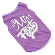 Small Dog Shirt, Voberry Fashion Pet Puppy Clothes Funny Cotton Costumes Pet Dog Cat Cute Quote T Shirt (L, Purple)