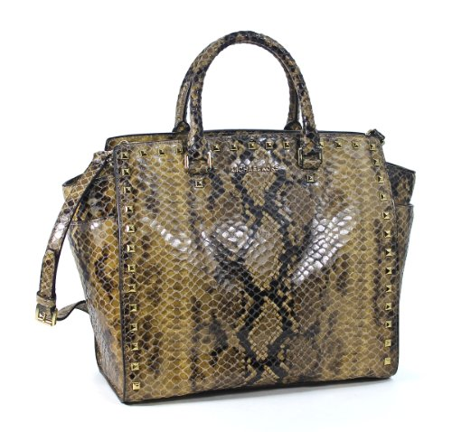 Michael Kors Selma Stud Large North South Tote Sand Python Leather Shopper