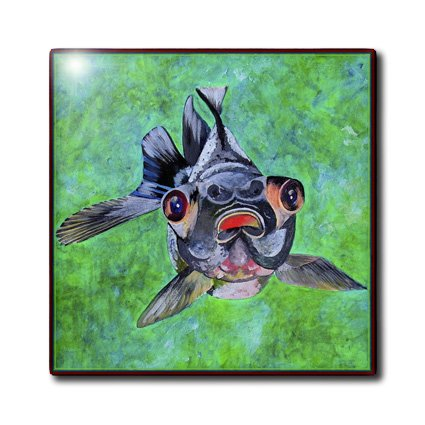Ct_48473_6 Taiche - Acrylic Painting - Blackmoor Goldfish - Blackmoor Goldfish- Blackmoor Goldfish, Telescope Goldfish, Goldfish, Dragon Eye Goldfish - Tiles - 6 Inch Glass Tile
