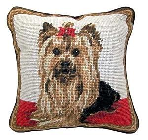 "Yorkie Yorkshire Terrier Dog Needlepoint Throw Pillow 10"""