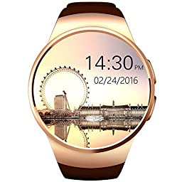 Superwatch Bluetooth Wrist Smart Watches with Camera Heart Rate Support SIM TF Card for IOS iPhone Android Samsung Sony LG Smart Phones (Gold)