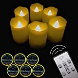 ?Timer?LAPROBING 6-Candles 12-Cells LED Votive Tea Lights Candles Battery Operated Flickering Flameless Candles 2'' Dimmable Light with Remote Control for Wedding Decorations Birthday Parties Gift