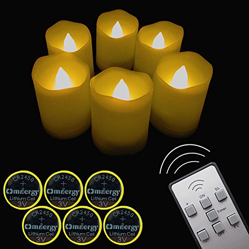 【Timer,12 Pcs Batteries Included】6 Pcs Candles LED Votive Tea Lights Candles Battery Operated Flickering Flameless Candles 2'' Dimmable Light with Remote for Wedding Decorations Birthday Parties Gift (Battery Votive Candles Timer compare prices)