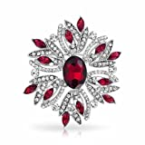 Bling Jewelry Holiday Christmas Brooch Pin Wreath Red Simulated Garnet Crystal Rhodium Plated thumbnail