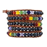 7 Chakras Yoga Freshwater Cultured Pearls Simulated Amethyst Lava Rock Sodalite Wrap Leather Bracelet (Dyed Black)