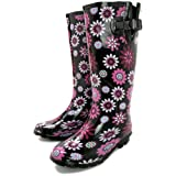 Spy Love Buy Megan Flat Wellies Wellington Wide Calf Knee High boots