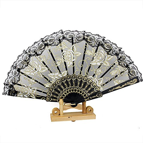 Topshop® Women's Chinese Vintage Folding Hand Fans Glitter Rose Flower Print Lace Fans (Black)