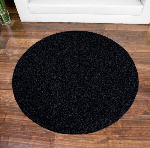 imut Geschäft Hochflor Teppich Fontana schwarz rund