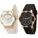 Geneva Black and White Faux Rhinestones Chronograph Silicone Watch