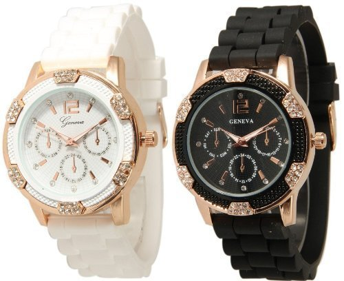 Geneva Black and White Faux Rhinestones Chronograph Silicone Watch (Watch Taken 3 compare prices)