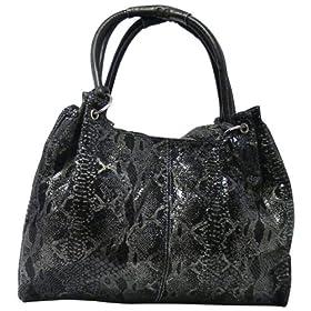 EmbassyTM Large Black Genuine Leather Handbag with Snakeskin Embossing