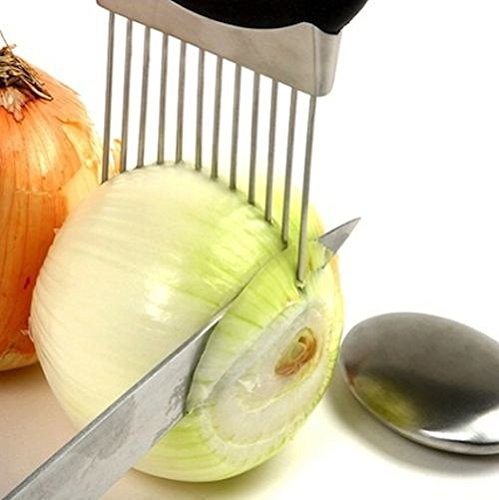 Easy Onion Holder Slicer Vegetable Tools Tomato Cutter Stainless Steel Kitchen Gadgets No More Stinky Hands (Kitchen Gadgets Tomato compare prices)