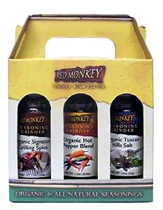 Red Monkey Foods Favorites Grinder 3 Piece Gift Set Signature Grilling Spice-tuscan Hills Salt-hot Pepper Blend by Red Monkey Foods
