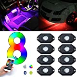 KAWELL 3rd-Gen RGB LED Rock Lights with Bluetooth Controller, Timing Function, Music Mode - Multicolor Neon LED Light Kit (8 Pods RGB)