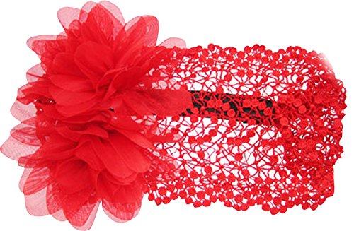 PinkXenia Embroided Red big flower princess NewBprn BabyGirl Soft Headband