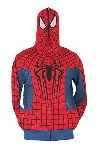 Spider-Man (Marvel Comics) Mens Hoodie Sweatshirt - Amazing Movie Style Costume (Small) Red