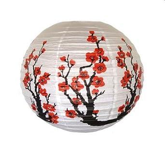 "Red Sakura (Cherry) Flowers White Color Chinese/Japanese Paper Lantern/Lamp 16"" Diameter - Just Artifacts Brand"