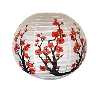 "Red Sakura (Cherry) Flowers White Color Chinese/Japanese Paper Lantern/Lamp 16"" Diameter - Just Artifacts Brand"