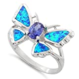 Sterling Silver Created Blue Opal Butterfly Ring (Size 4 - 10)