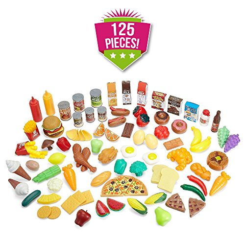 Pretend Food Toy Play Set - Huge 125 Piece Ultimate Kitchen Set - Great for Play Food Kitchen Toys