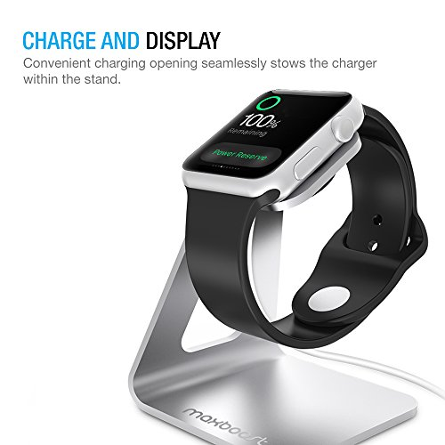 Apple-Watch-Stand-Maxboost-Apple-Watch-Dock-Charging-Stand-Aluminum-Platform-Holder-Cradle-38mm-and-42mm-Sport-Edition-2015-Cable-Band-Case-and-Watch-NOT-INCLUDED-Silver