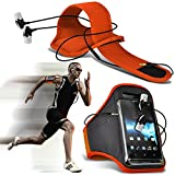 ( Orange ) Nokia Lumia 610 Sports Running Jogging Ridding Bike Cycling Gym Arm Band Case Pouch Cover & Premium Quality Aluminium In Ear Earbud Stereo Hands Free Headphones Earphone Headset with Built in Microphone Mic & On-Off Button By ONX3