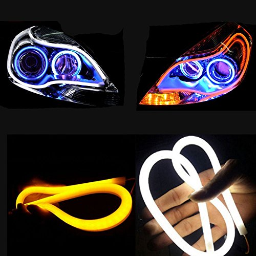 2x 23inch Dual Color White-Amber Switchback Headlight LED Tube Strip Light DRL Daytime Running Light & Turn Signal Lamp For Audi-Style Headlight 60CM (Led Light Strip For Headlights compare prices)