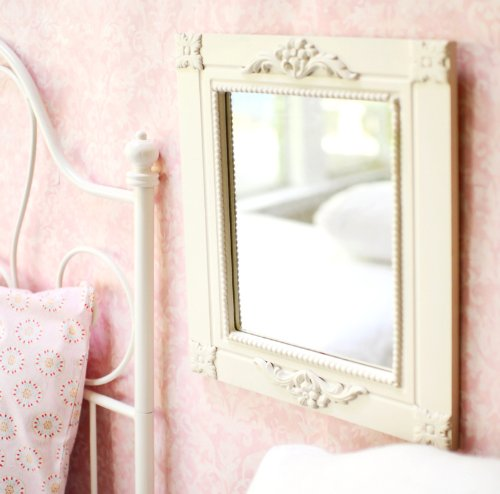 Antique White Carved Mirror