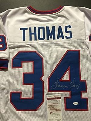 Autographed/Signed Thurman Thomas Buffalo Bills White Football Jersey JSA COA