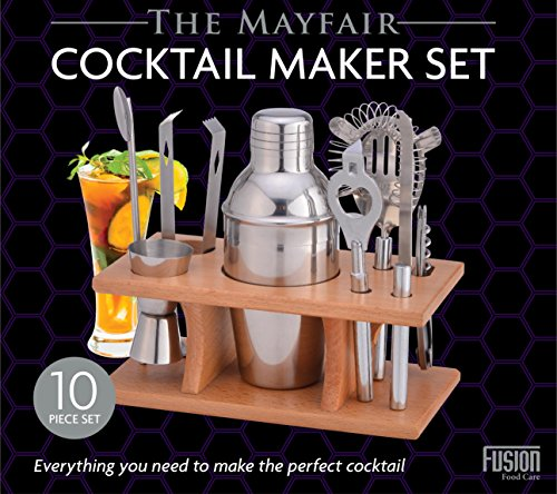 Express trading discount duty free HOME FUSION PROFESSIONAL 10 PIECE BAR TOOL SET INCLUDES COCKTAIL SHAKER, FILTER / STRAINER, FRUIT KNIFE, ICE TONGS, BEER & WINE BOTTLE OPENER, DOUBLE HEADED CUP, JIGGER WITH HANDLE AND A WOODEN STAND FOR THE SET