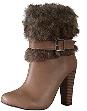 Chase and Chloe APOLLO-5 Women's Almond Toe Leatherette Fur Collar Chunky Heel Bootie-Brown, Nude