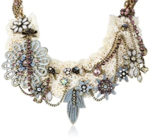 "Betsey Johnson ""Girlie Grunge"" Lace Multi-Charm Necklace, 20"""