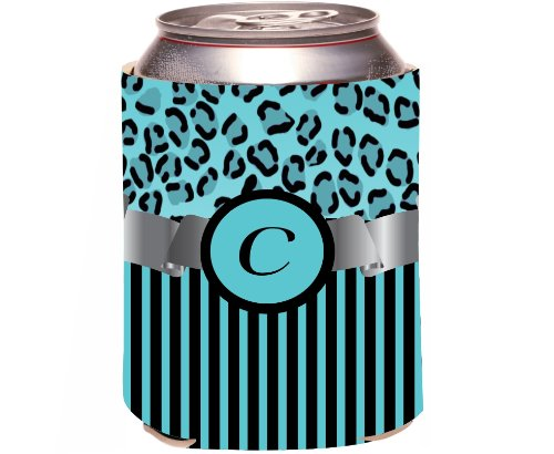 "Rikki Knight Beer Can Soda Drinks Cooler Koozie, Letter ""C"" Initial Monogrammed Design, Leopard Print And Stripes, Sky Blue front-645366"