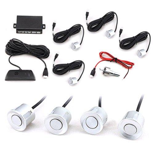 Car 4 Parking Sensor Reverse Backup Radar Sound Alarm System Kit Silver front-402605