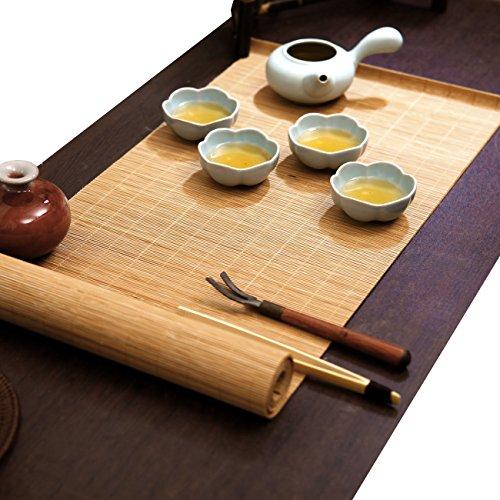 Tea Ceremony - Kung Fu Tea Set Mat Natural Bamboo Tablemat Slat Handmade Bamboo Sticks Decor Placemat Tea Table Runner 12 By 47-Inch, Natural (Teapot Mat compare prices)