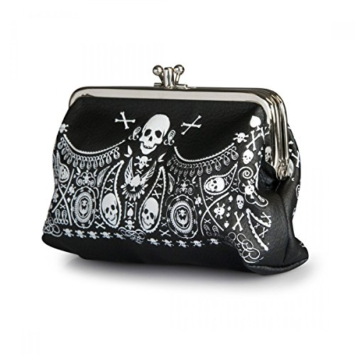 Biker Lady Gothic Rockabilly Bandana Skull Black Kiss Lock Coin Purse