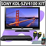 Sony Bravia V-Series KDL-52V4100 52-inch 1080P LCD HDTV + Sony DVD Player Accessory Kit