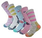 5Pack Women's Multi Performance Padded Hiking/Outdoor Crew Socks 5Pack Assortment Solid3P /Stripe2P Medium