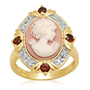 Sterling Silver Created White Sapphire, Semi Garnet and Pink Cameo Ring, Size 7 by Amazon Curated Collection