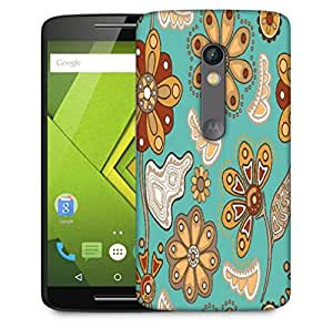 Snoogg Colorful Floral Seamless Pattern In Cartoon Style Seamless Pattern Designer Protective Phone Back Case Cover For Motorola Moto X Play
