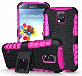 [Diablo] JKase Samsung Galaxy S5 Case Protective [Ultra Fit] Tough Rugged Dual Layer Protection Case Cover with Build in Stand for Galaxy S5 / Galaxy SV / Galaxy S V (2014) - Retail Packaging (Pink)