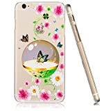 3Cworld iPhone 6 Case Clear Matte Back Cover Hardshell with Design [4.7'' Hard Plastic] - Retail Packaging - 17 Patterns (Flower-hot pink)