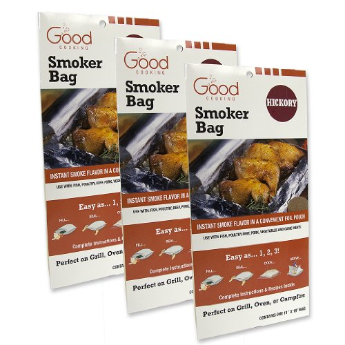 Smoker Bags - Set of 3 Hickory Smoking Bags for Indoor or Outdoor Use - Easily Infuse Natural Wood Flavor (Smoker Bags compare prices)