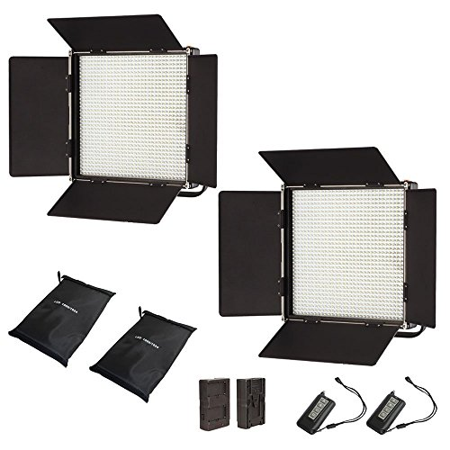 Iled 1024As Bi-Color Led Studio Panel 2-Light Kit With Lcd Touch Screen And V-Mount Plate + Wireless Remote Controller + Battery Converter Adapter + Softbox