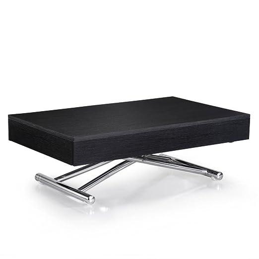 Table basse relevable CUBE coloris chêne noir extensible 12 Couverts