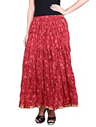 Prateek exports Beautiful Designer RedPrinted Long Skirt
