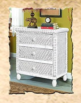 Santa Cruz 3-drawer Wicker Chest White